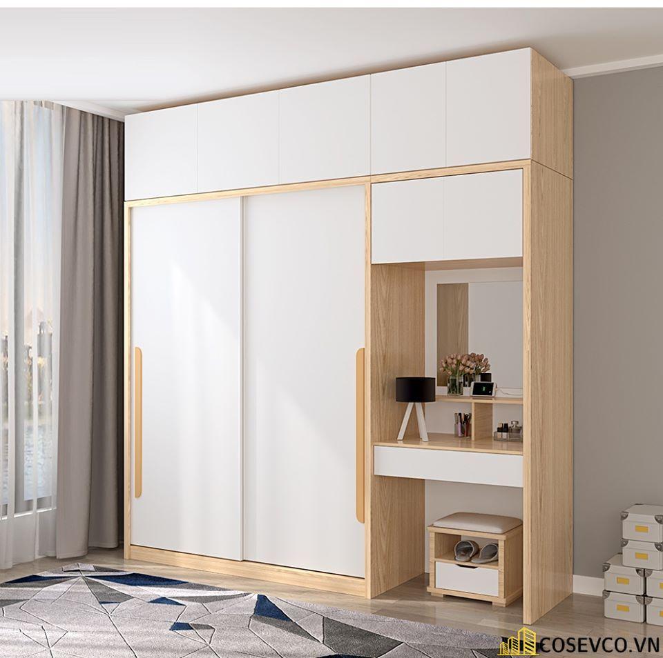 Tủ quần áo gỗ công nghiệp sử dụng màu vân rác được chia thành 3 khoang và 2 ngăn kéo trượt phù hợp với không gian - Mẫu 2