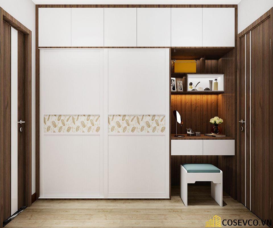 Tủ quần áo gỗ công nghiệp sử dụng màu vân rác được chia thành 3 khoang và 2 ngăn kéo trượt phù hợp với không gian - Mẫu 1