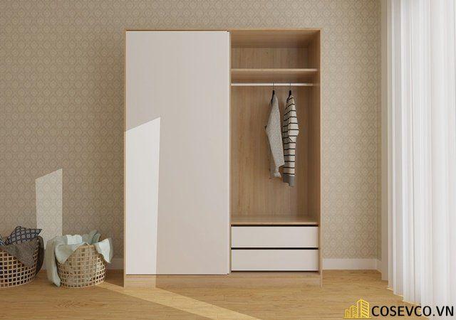 Mẫu tủ quần áo gỗ công nghiệp 1m2 là lựa chọn tối ưu dành cho những căn phòng có diện tích hạn chế - Mẫu 2