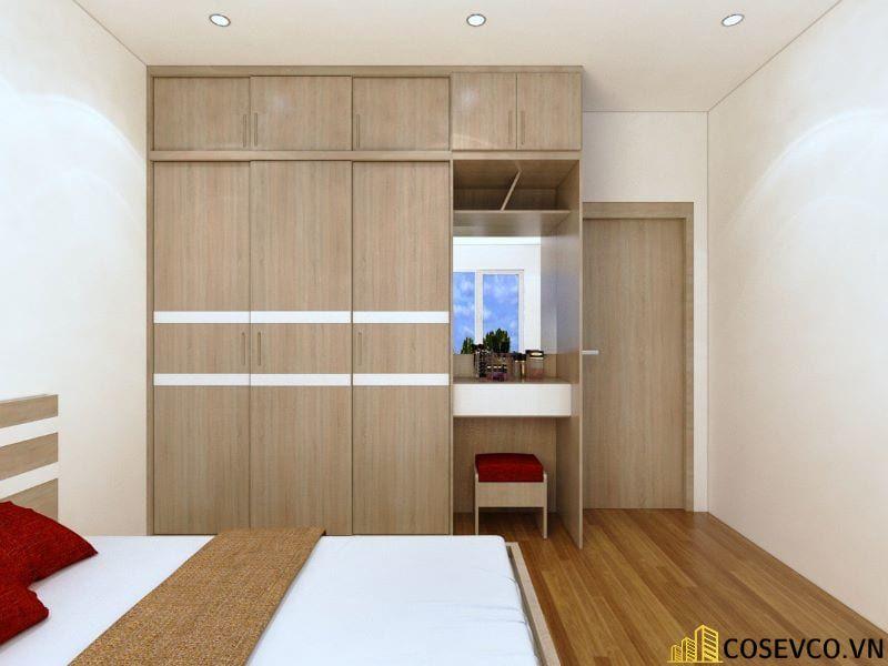 Tủ quần áo gỗ công nghiệp sử dụng màu vân rác được chia thành 3 khoang và 2 ngăn kéo trượt phù hợp với không gian - Mẫu 4