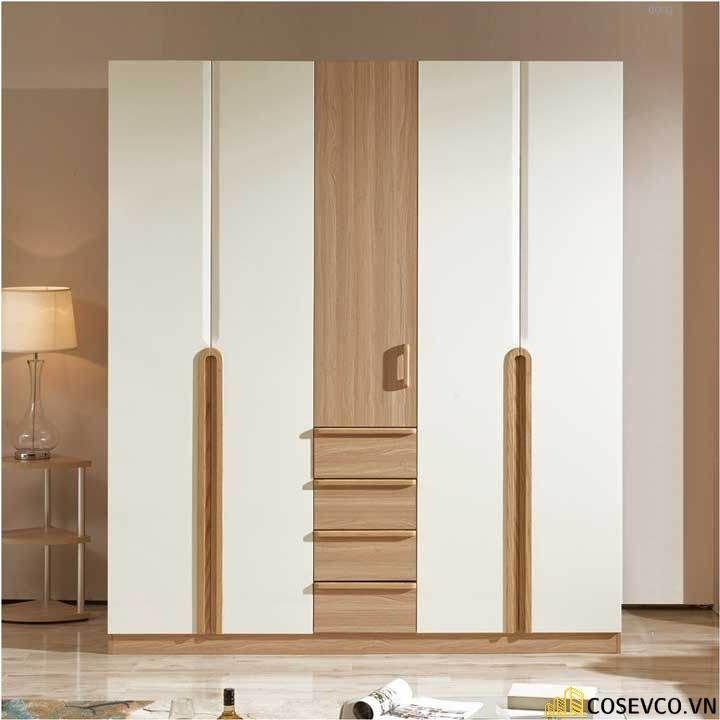 Tủ quần áo gỗ công nghiệp sử dụng màu vân rác được chia thành 3 khoang và 2 ngăn kéo trượt phù hợp với không gian - Mẫu 3