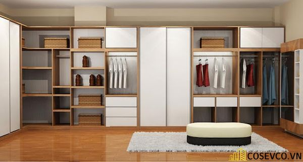 Mẫu tủ quần áo nhiều ngăn tiện nghi