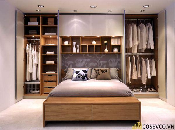Mẫu tủ quần áo kết hợp giường hiện đại