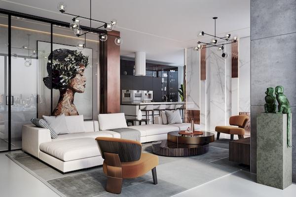 Thiết kế liên thông giữa phòng khách và bếp ăn