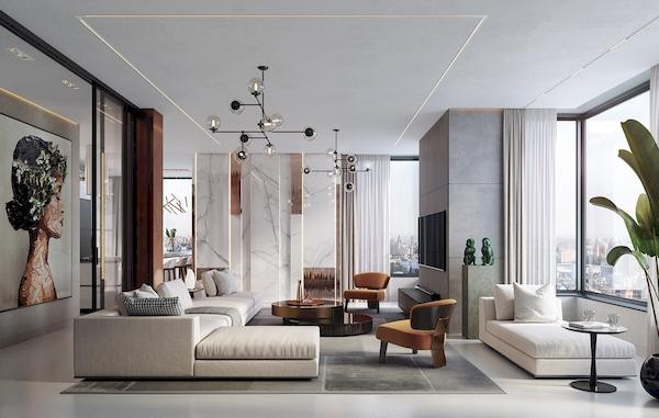 Phòng khách sử dụng gỗ công nghiệp MDF lõi xanh và sofa bọc nỉ êm ái