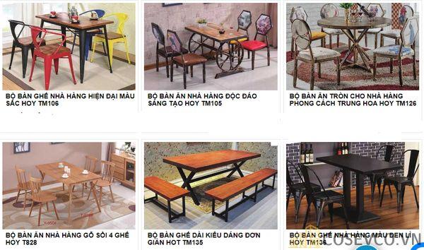 Mẫu bàn ghế quán nhà hàng - BST 7