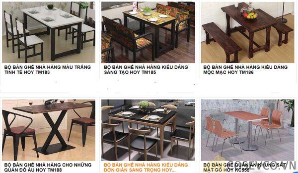 Mẫu bàn ghế quán nhà hàng - BST 4