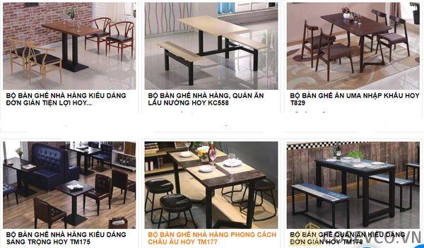 Mẫu bàn ghế quán nhà hàng - BST 3