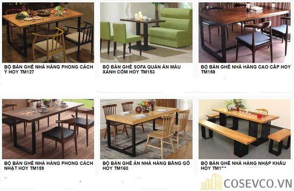 Mẫu bàn ghế quán nhà hàng