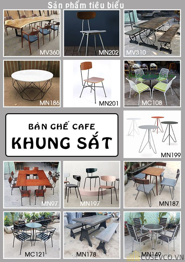 Mẫu bàn ghế nhà hàng - Cafe khung sắt tĩnh điện cao cấp
