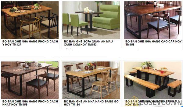 Mẫu bàn ghế quán nhà hàng - BST 9