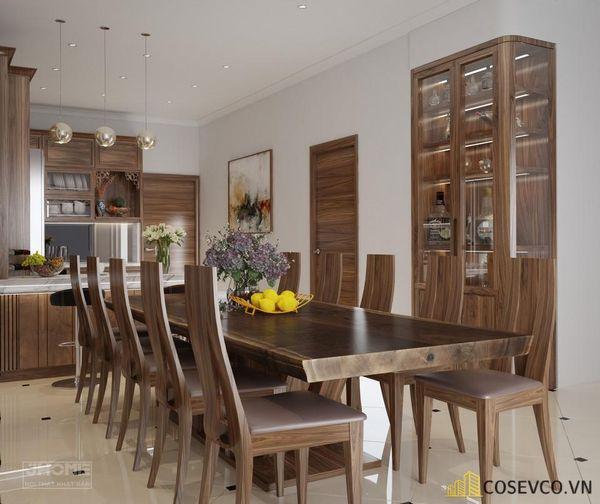 Mẫu bàn ăn gỗ nguyên khối đẹp sang trọng - M1