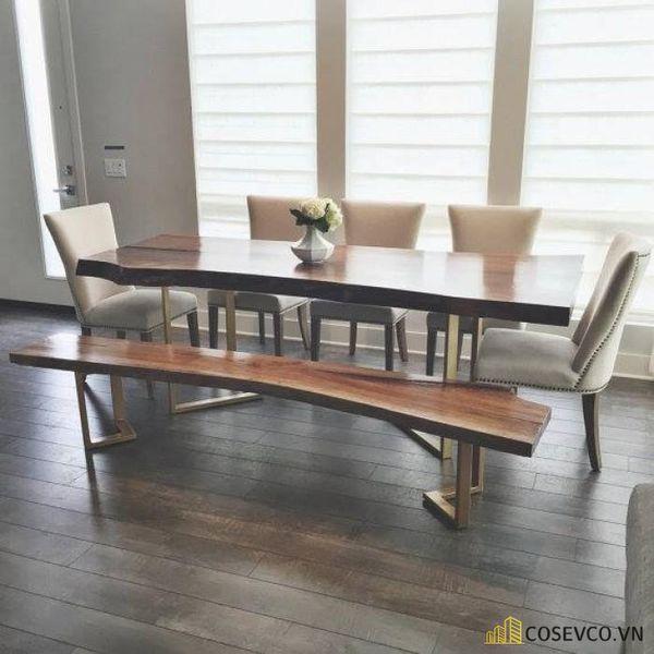 Mẫu bàn ăn gỗ nguyên khối đẹp sang trọng - M6