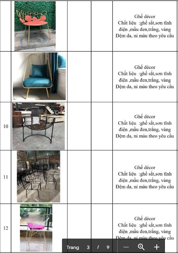 Giá bàn ghế nhà hàng - Bảng 1
