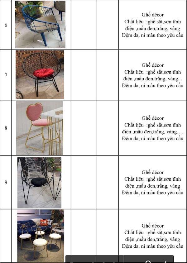 Giá bàn ghế nhà hàng - Bảng 2