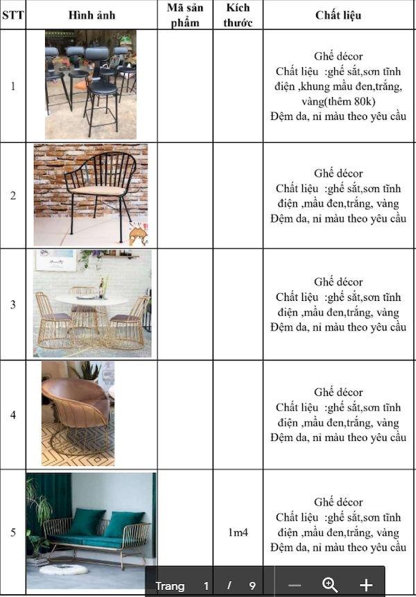 Giá bàn ghế nhà hàng - Bảng 3