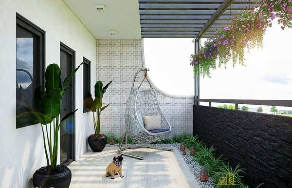 Ban công chung cư được trang trí theo phong cách hiện đại, thoáng rộng ấn tượng với hệ thống cây xanh. Tạo không gian thư giãn tuyệt vời - M10