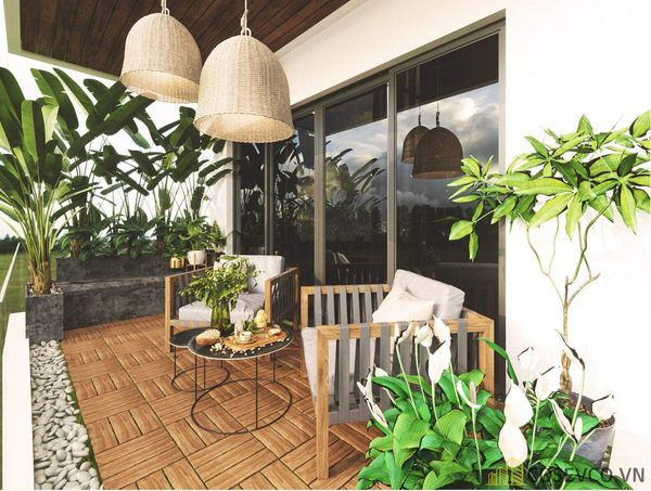 Ban công chung cư được trang trí theo phong cách hiện đại, thoáng rộng ấn tượng với hệ thống cây xanh. Tạo không gian thư giãn tuyệt vời - M9