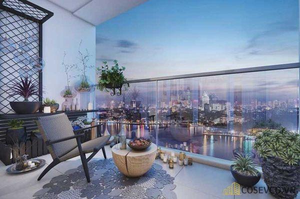 Ban công chung cư được trang trí theo phong cách hiện đại, thoáng rộng ấn tượng với hệ thống cây xanh. Tạo không gian thư giãn tuyệt vời - M8