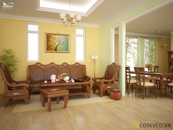 Trang trí phòng khách nhà cấp 4 bằng gỗ