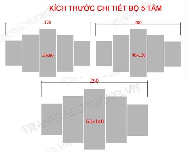Kích thước tranh treo tường cho tường rộng